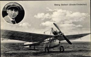 Ak Pilot Georg Seibert, Portrait, Grade Eindecker Flugzeug