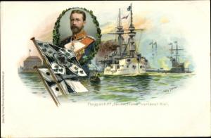 Künstler Ak Stöwer, Willy, Flaggschiff Deutschland verlässt Kiel, Großadmiral Prinz Heinrich