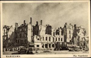 Ak Warszawa Warschau Polen, Plac Napoleona, Zerstörungen