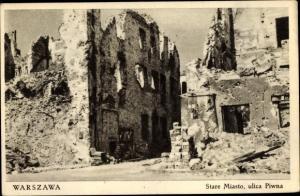 Ak Warszawa Warschau Polen, Stare Miasto, Ulica Piwna, Altstadt, Bierstraße, Zerstörungen