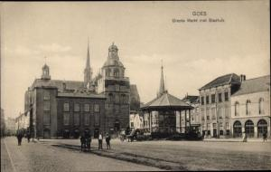 Ak Goes Zeeland Niederlande, Groote Markt met Stadhuis