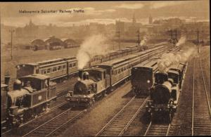 Ak Melbourne Australien, Suburban Railway Traffic, Railway
