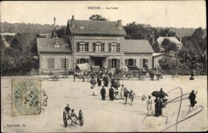 Ak Hesdin Pas de Calais, La Gare, Kutsche