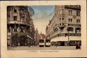 Ak Chemnitz in Sachsen, Friedrich August Straße, Tram, Hotel