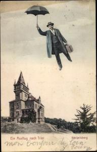 Ak Trier in Rheinland Pfalz, Kockelsberg, Mann fliegend mit Schirm