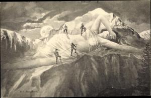 Künstler Ak Bergsteiger auf der Jungfrau, vermenschlichter Berg