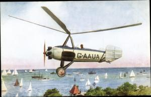 Ak Auto Giro G-AAUA rotating wing machine, Hubschrauber, Segelpartie, Panorama