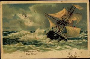 Künstler Litho Rettungswesen zur See, Das Wrack, Segelschiff, Sturm