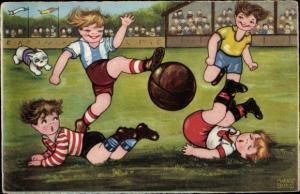 Künstler Ak Borles, Margret, Fußballspiel im Stadion, Hund