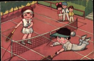 Künstler Ak Tennis Spieler auf dem Tennisplatz, Match, Amag 0300