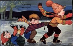 Künstler Ak Borles, Margret, Glückwunsch Neujahr, Kinder beim Schlittschuhlaufen