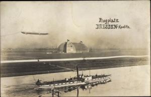 Ak Dresden Kaditz, Flugplatz, Zeppelin, Luftschiffhalle, Salondampfer Kronprinz