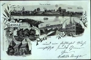 Mondschein Litho Plau am See, Panorama von der Seeseite, Schulhaus, Rathaus, Kirche, Burg
