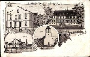 Litho Gerswalde in der Uckermark, Gasthof zum Löwen, Schloss, Molkerei, Kirche