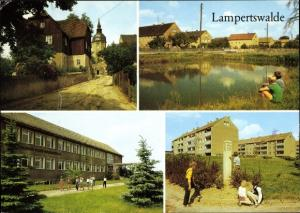 Ak Lampertswalde in Sachsen, Kirche, Martin Andersen Nexö Schule, Postmeilensäule, Neubaugebiet