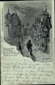 Mondschein Litho Boppard am Rhein, Betrunkener