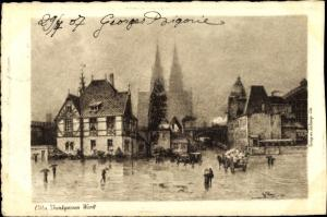 Künstler Ak Köln, Trankgassen Werft, Dom im Nebel, Häuserfassaden