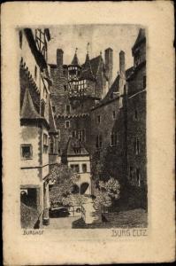 Künstler Ak Jander, Carl, Wierschem, Burg Eltz, Burghof, Türme, Fachwerk