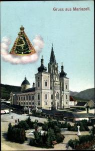 Ak Mariazell Steiermark Österreich, Mariazell, Kirche, Gesamtansicht, Park, Gnadenbild