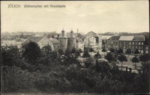 Ak Jülich in Nordrhein Westfalen, Walramplatz, Hexenturm, Stadtansicht
