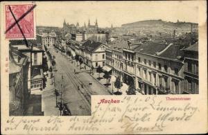 Ak Aachen in Nordrhein Westfalen, Theaterstraße, Straßenbahngleise, Stadtansicht