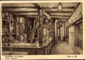 Künstler Ak van Hees, D., Bonn am Rhein, Brauhaus Im Stiefel, Historische Schenke, Zeichnung