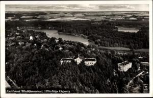 Ak Waldsieversdorf Märkische Schweiz, Panoramaansicht von Ortschaft, Fliegeraufnahme, Klinke 13123