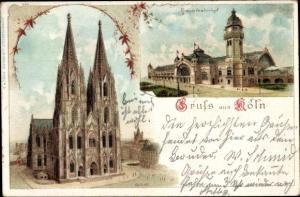Litho Köln am Rhein, Blick auf Dom und Hauptbahnhof