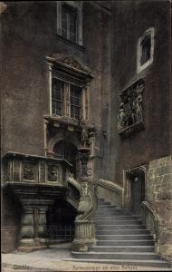 Ak Görlitz in der Lausitz, Rathaustreppe am alten Rathaus