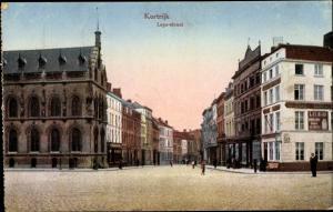 Ak Kortrijk Courtrai Westflandern, Leyestraat, Straßenpartie, Au Chat Restaurant