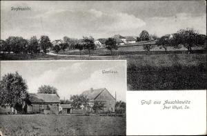 Ak Auschkowitz Burkau Sachsen, Dorfansicht, Blick auf ein Gasthaus, Felder