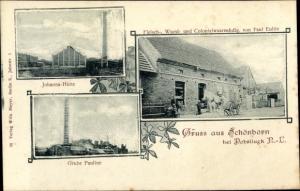Ak Schönborn Niederlausitz, Johannahütte, Grube Pauline, Fleischerei u. Kolonialwaren v. Paul Eulitz