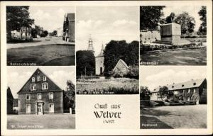 Ak Welver in Westfalen, Bahnhofstraße, St. Josef Hospital, Kirche, Ehrenmal, Pastorat