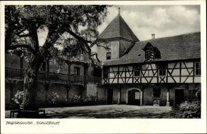 Ak Jagsthausen Baden Württemberg, Schlosshof, Baum, Fachwerk