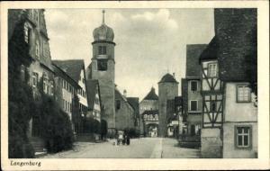 Ak Langenburg Baden Württemberg, Uhrenturm, Tordurchgang, Fachwerkhäuser