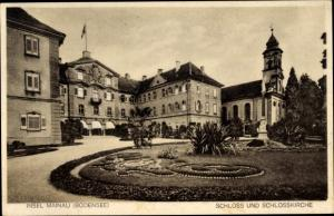 Ak Insel Mainau im Bodensee, Schloss u. Schlosskirche, Eingang, Parkanlage
