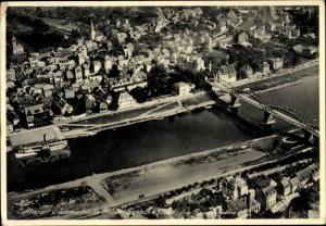 Ak Traben Trarbach Rheinland Pfalz, Fliegeraufnahme der Stadt, Moselbrücke, Dampfer