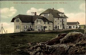 Ak Waldkirch Baden Württemberg, Hotel u. Rathaus Kandel, Bes. Max Bauer, Terrasse, Gäste