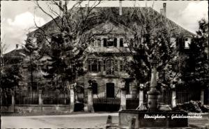 Ak Bönnigheim, Gehörlosenschule, Frontalansicht, Eingang, Brunnen