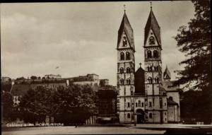 Ak Koblenz in Rheinland Pfalz, Castorkirche, Frontalansicht, Häuserfassaden