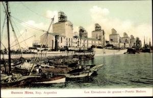 Ak Puerto Madero Buenos Aires Argentinien, Elevadores de granos