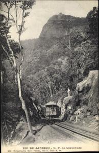 Ak Rio de Janeiro Brasilien, E. F. do Corcovado, Zahnradbahn