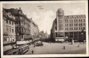 Ak Praha Prag Tschechien, Graben, Geschäftshäuser, Straßenbahnen