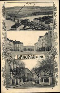Ak Braunau am Inn in Oberösterreich, Panorama, Straßenpartie, Brauerei
