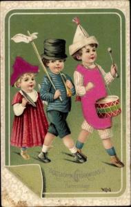 Präge Stoff Ak Glückwunsch Namenstag, Kinder musizieren