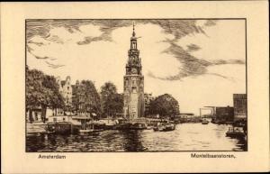 Künstler Ak Amsterdam Nordholland Niederlande, Montelbaanstoren