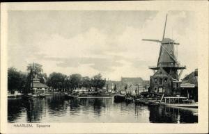 Ak Haarlem Nordholland Niederlande, Spaarne, Windmühle
