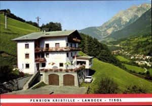 Ak Landeck in Tirol, Pension Kristille, Außenansicht, Hang, Sessellift