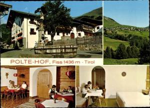 Ak Fiss in Tirol, Polte Hof, Außen- u. Innenansichten, Panorama vom Ort