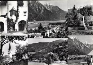 Ak Nikolsdorf in Tirol, Panorama vom Ort, Schloss Lengberg, Kirche, Hochstadel